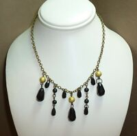 "ADORABLE Vintage 1970's Black Faceted Glass Bead Dangle Chain 18"" Necklace"