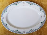 The Cellar CLAUDETTE Oval Serving Platter Vintage Ceramic Plate Blue White