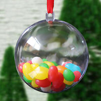 10pcs Christmas Decoration Round Plastic Ball Transparent Open Baubles Ornament