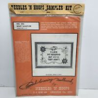 """Cross Stitch Sampler Kit I LOVE MY HUSBAND BUT DAMN THAT BOAT Picture Size 7x10"""""""