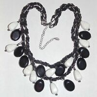 Signed Chico's black white faux stone suede cord chain double strand necklace