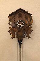 RESTORED Vintage 1970's Wood Hand Carved Cuckoo Clock German Black Forest 1-Day