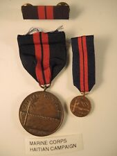 Rare Marine Corps Haitian campaign 1919-1920 medal #2002, ribbon bar, miniature