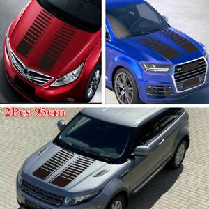 2x 95cm Matte Black Stripe Graphics Car Hood Sticker Body Cover Decorative Decal