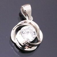 1 Ct Round Cut Solitaire Diamond Pendant Charm Jewelry Gift SOLID 14k White Gold