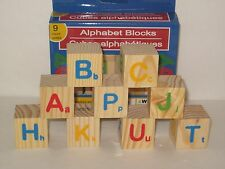 "Wooden Alphabet Blocks - Small 1 3/16"" Sq Solid Wood Building Blocks w/ Letters"