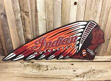 "Indian Motorcycle Chief Embossed 24"" Metal Tin Sign Vintage Rustic Garage Dealer"