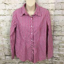 Motherhood Maternity Pink Striped Button Front Shirt Sz Large Stretch