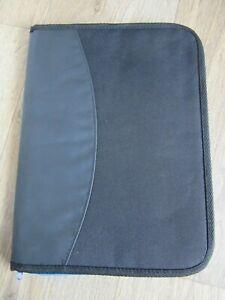 Dokumentenmappe - DIN A4 - Stoff/Kunstleder- schwarz - Tasche Ordner Fächermappe