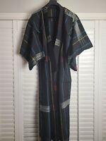 Vintage Kimono Traditonal Japanese Jacket Robe Geisha Black Yellow Blue Striped