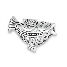 Unique & Festive Sterling Silver Fancy Filigree FISH Slide Pendant 925