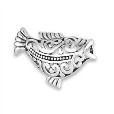 Unique & Festive Sterling Silver Fancy Filigree FISH Slide Pendant 925