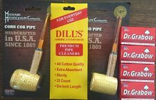 STRAIGHT Missouri Meerschaum Corn Cob Pipe & Dills Cleaners & Dr. Grabow Filters