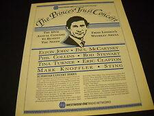 PRINCE'S TRUST CONCERT Knopfler Clapton McCartney etc 1986 PROMO DISPLAY AD mint