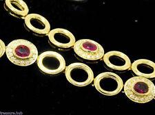 ELEGANT Genuine 9K,9ct Yellow Gold NATURAL Ruby DIAMOND Line Bracelet 18.5cm