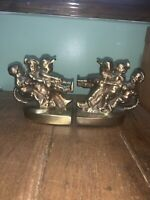 GREAT VINTAGE PM CRAFTSMAN CAST METAL BOOKENDS BRASS CHILDREN TUG O WAR