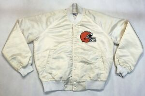 Vintage Chalk Line NFL Cleveland Browns Satin Bomber Jacket M White USA Made 90s