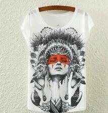 Indian Lady Punk Pinup Tattoo Gypsy Boho Goth Shirt Chief Top Rockabilly Vintage