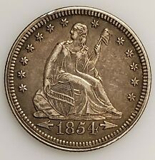 1854 Seated Liberty Quarter 25c w/ Arrows in XF/AU Condition