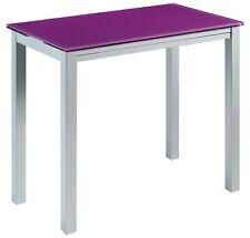Mesa cristal cocina color morado rectangular extensible vidrio 95x76x55/75/95