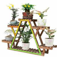 Wooden Multi Tier Wood Plant Stand Outdoor Indoor Flower Pot Rack Display Shelf