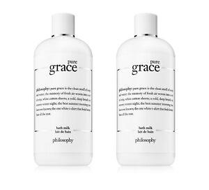 Lot 2x New Sealed Philosophy Pure Grace Bath Milk 16oz 480ml Water Lily