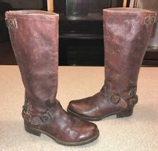 FRYE Veronica Ant Tall Riding Boots Rustic Brown 77551 Distressed Women's 8.5