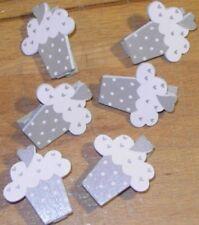 6 Mini Pince à Linge Cupcake Gris/Blanc Décoration de Table Mariage Baptême fête