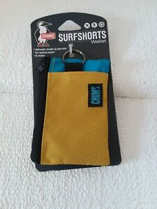 Chums SurfShorts Tear/Water Resistant Wallet, Mustard/Horizon Blue, Lightweight