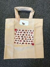 Fabric Tote Bag, hand made, unlined, cream, hedgehog theme - New