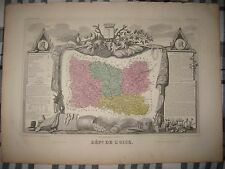 Fine Antique 1861 Department De Oise Beauvais France Levasseur Map Wine Interest
