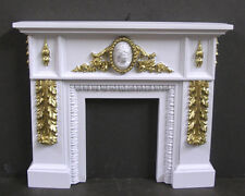 CARVED FIREPLACE ~ 1:12  scale ~ Gold Detail ~ Dollhouse ~ High Relief Sculpture