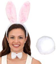 Easter White Pink Bunny Tail Ears Headband Rabbit Costume Accessory Kit Set