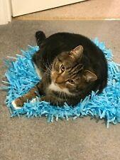2x BLUE Tissue Paper Grass Mats for cat or kitten toy pet toys Interactive mat