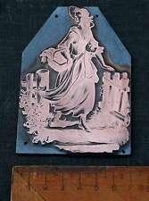 DAME MIT KORB Galvano Druckplatte Klischee Eichenberg printing plate copper