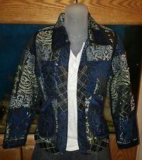 Draper and Damons  Beautiful Black/Blue/Silver Patchwork Style Jacket Size PXS