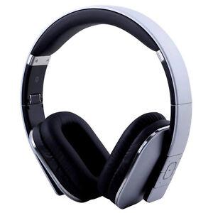 August EP650S Bluetooth NFC Kopfhörer silber Lederohrpolster