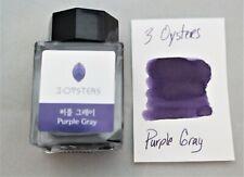 3 Oysters Fountain Pen Ink 38ml Bottle Purple Gray
