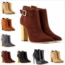 Womens Ladies Pointy Toes High Heeled Ankle Boots Booties Buckle Riding Shoes DD