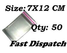 50 di 7 x 12 cm chiaro display VIOLONCELLO SACCHETTI DI CELLOPHANE Autoadesivo Peel & Seal
