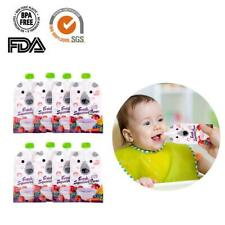 Reusable Refillable Squeeze Food Pouch Storage Bag Baby Food Double Zipper 8pcs