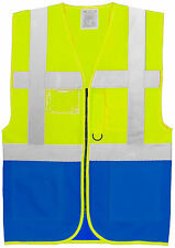 Hi Vis Visibility Executive Two Tone Safety Vest Waistcoat Work Wear