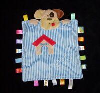 Taggies Peek A Boo Buddy Puppy Dog Baby Blanket Blue Stripe Bone Security Lovey
