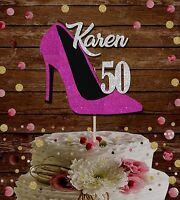 50th birthday cake topper, custom stiletto any age name decoration, 30th 40 60