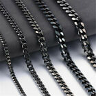 3/5/7/9/11mm Mens Cuban Curb Black Necklace Stainless Steel Link Chain 18-30