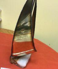 Vintage sail boat copper brass art statue mounted in Quartz