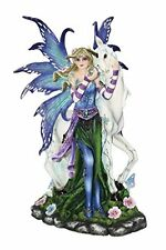 Blue Fairy with Unicorn and Butterfly Collectible Figurine Statue, New, Free Shi