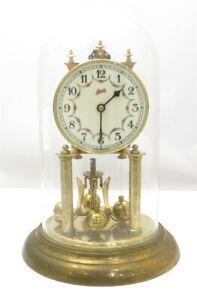 Vintage Schatz German Grape Vine Pattern Brass Anniversary Clock Porcelain Dial