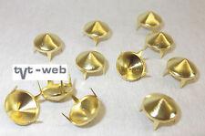 50 Ziernieten, Krallenniete, Kegelnieten 9,5mm gold  !! rostfrei !!