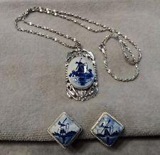 Vtg Art Nouveau Hoffman Blue/Wht Delft Dutch Windmill 925 Silver Pendant~Earring